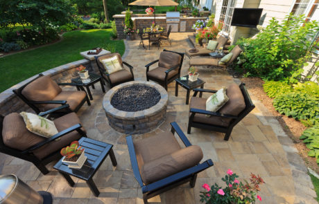 masonry patio and firepit
