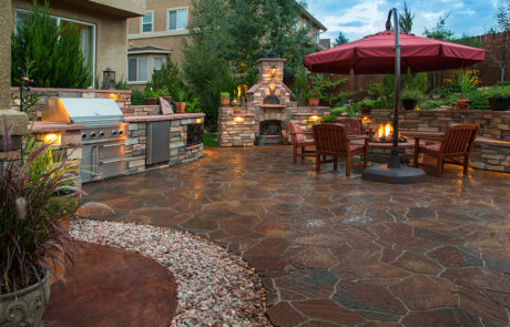 masonry patio, firepit and kitchen